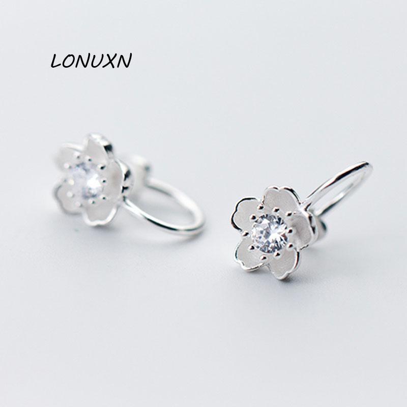 la mode de haute qualité Tout match de l'argent de diamant Fleurs de cerisier femmes doux Stud cadeau accessoires exquis boucles d'oreilles bijoux