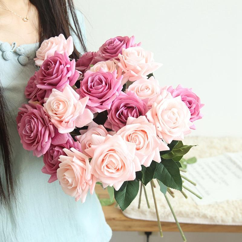 Decorative Flowers & Wreaths 2021 Artificial Simulation Roses For Bride Party Wedding Ins Po Props Fake Plants Home Decor
