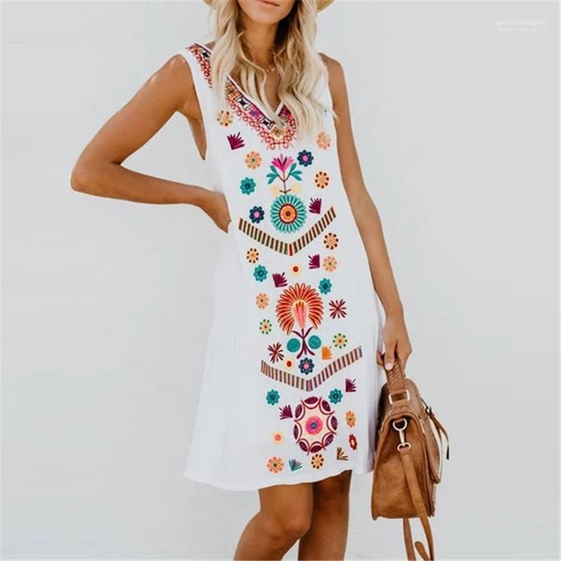 Kleider Sleeveless Sommer-Fashion V-Ausschnitt Plus Size Damen Kleidung lose Lässige Kleidung 5XL Frauen-Blumen-Druck