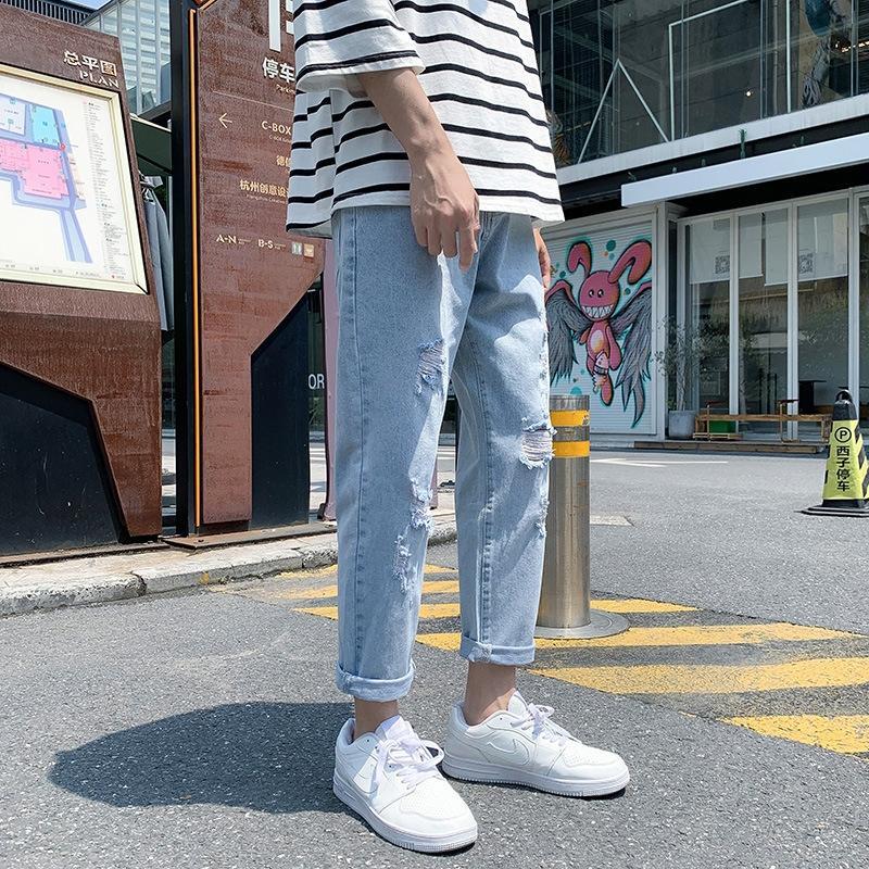 dA8oP été pour hommes mince mode tout match coréenne jambe large tube droit à neuf points de style br lâche branché et un jean pantalon et un pantalon long Jea