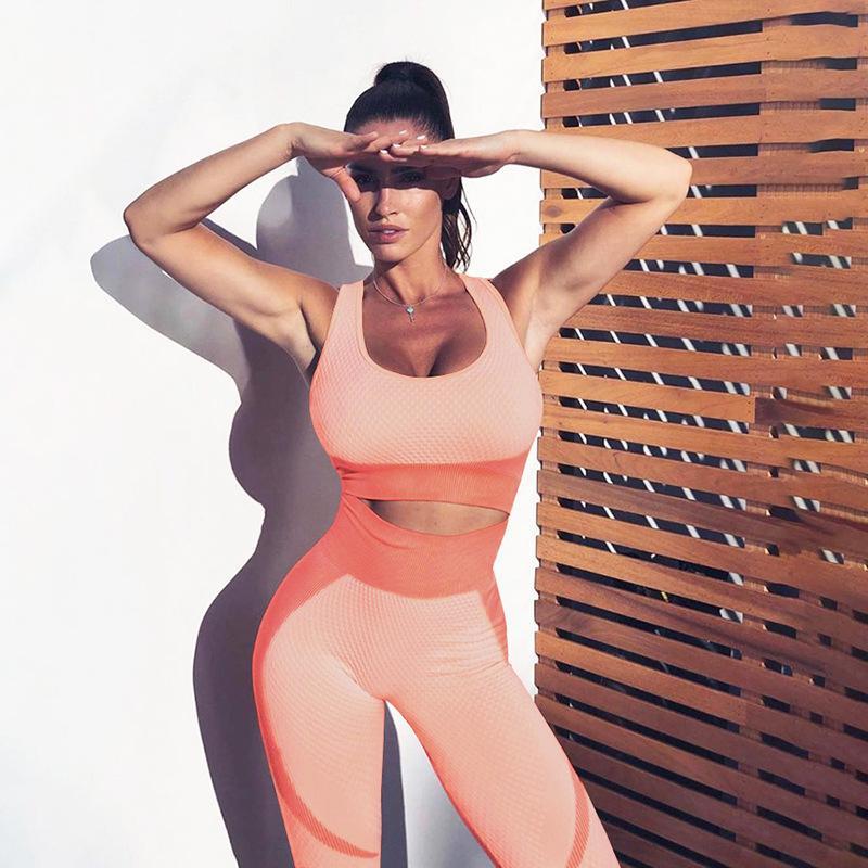 Donne Sportwear senza giunte sexy di ginnastica abbigliamento imbottito traspirante Yoga Suit Set Strecth fitness donne vestito di sport Ropa Deportiva Mujer