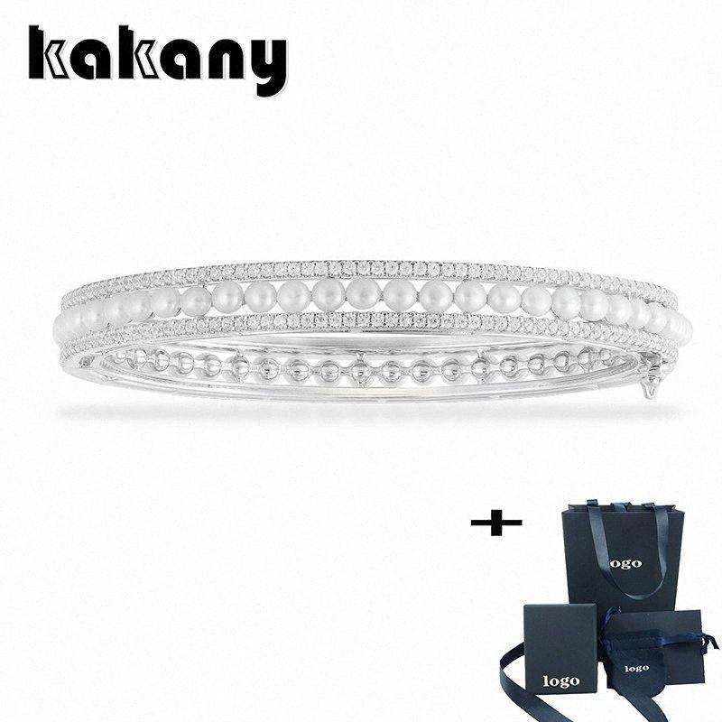 Kakany 2020 Nova Alta Qualidade Duplo Anel Embutidos Pulseiras decorado com pérolas Senhoras High End Moda marca de jóias presentes vh5S #
