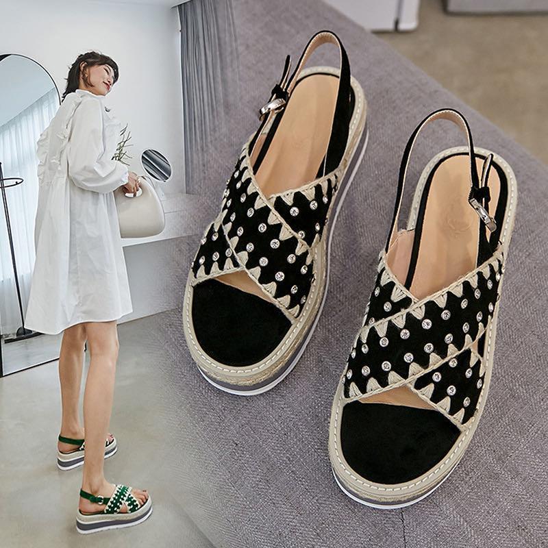 Sandálias Mulheres Plus Size Cunhas sapatos para as mulheres sapatos de salto alto sandálias de Verão de 2020 falhanço Chaussures Femme sandálias