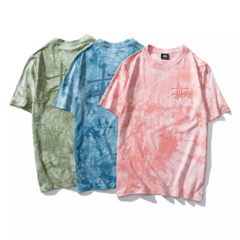 2020 New stussy klassische Süßigkeiten Farbe Tie-Dye Baumwolle kurze Ärmel, bequem und weich Farbe Kirschblüte rosa Dunst blau Gelee grün M-XXL