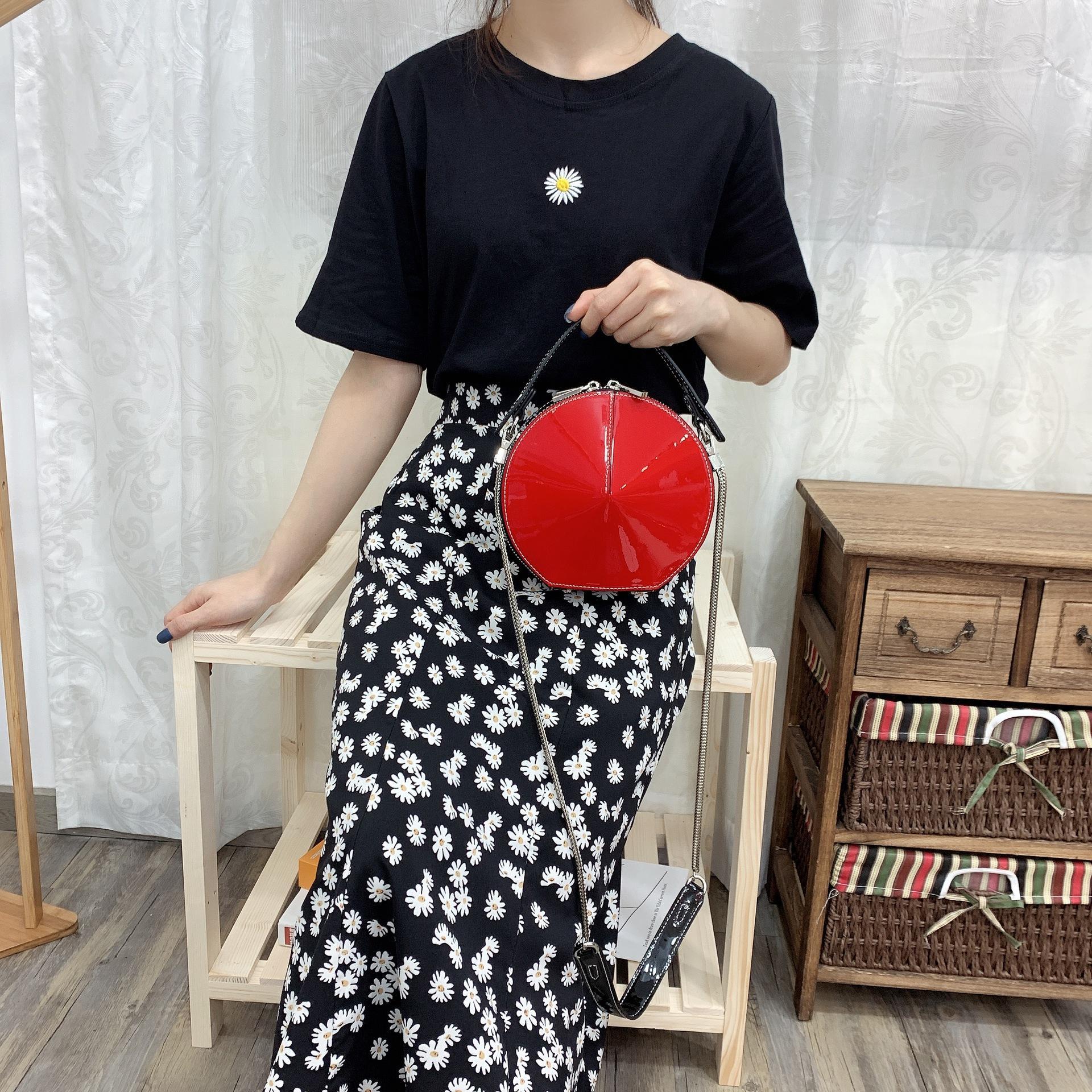 Deri küçük yuvarlak çanta 2020 yeni kadın moda trendi taşınabilir çapraz omuz çantası rugan