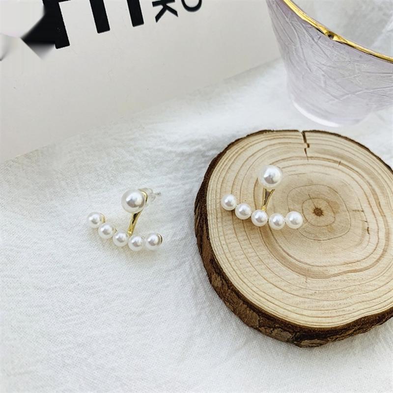 rK7ds S925 ago d'argento stile coreano a due Dai Zhenzhu orecchini eleganti e raffinati a forma di ventaglio divisi tutto-fiammifero orecchini per le donne
