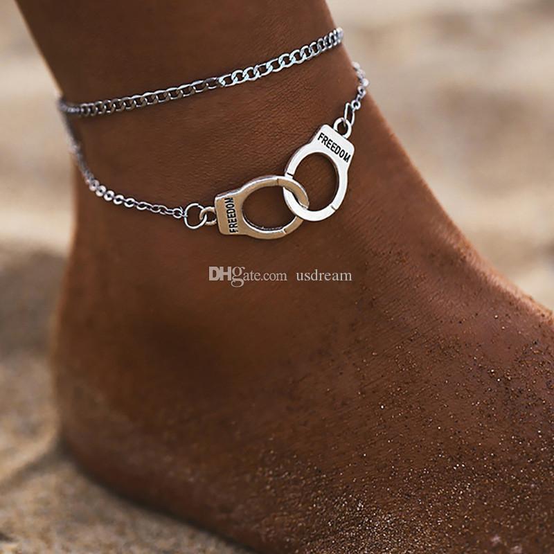 Özgürlük Kelepçe Halhal Zincir Gümüş Altın Zincirler Çok Katmanlı Wrap Ayak Bilezikler Kadın Yaz Plaj Moda Takı Will ve Sandy Hediye
