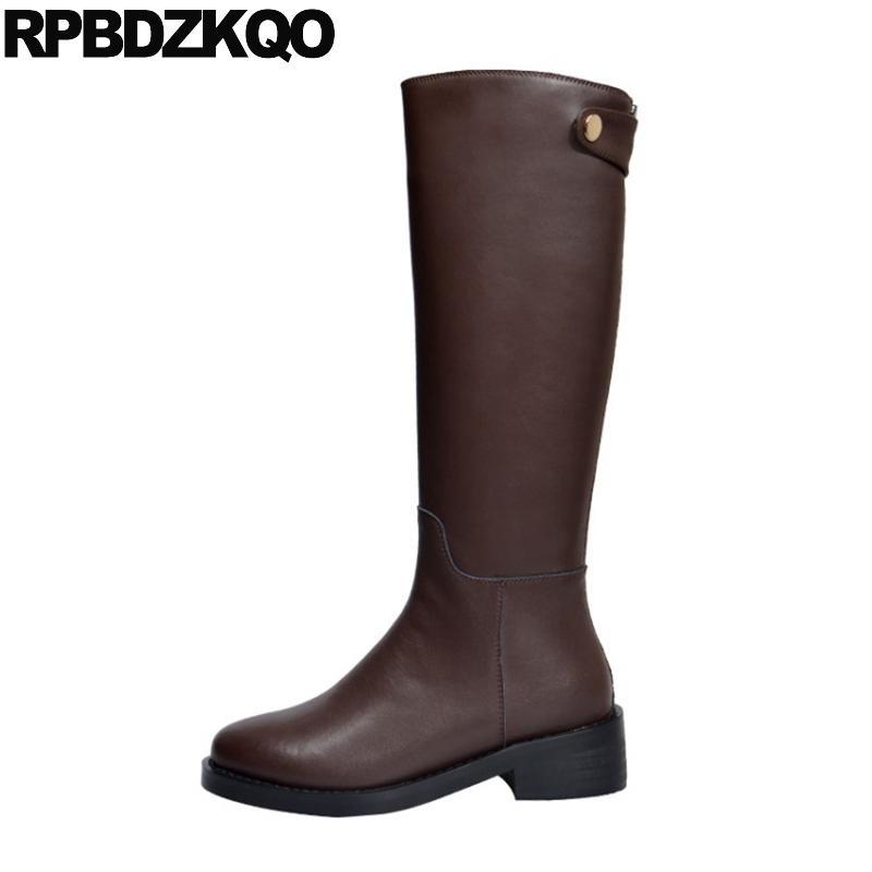 equestre tendência robusto mulheres botas de inverno 2020 sapatos de salto alto moda dedo do pé redondo preto joelho outono bloco longo passeios a pele marrom