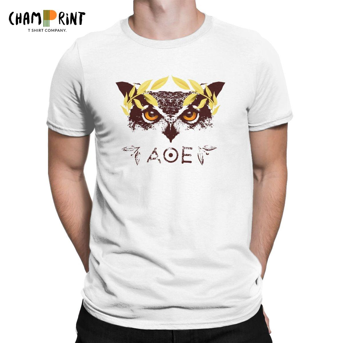 Pallas Athena's Owl T Shirts Men Pure Cotton Hipster T-Shirt Greek Goddess Mythology Tee Shirt Short Sleeve Clothing Plus Size