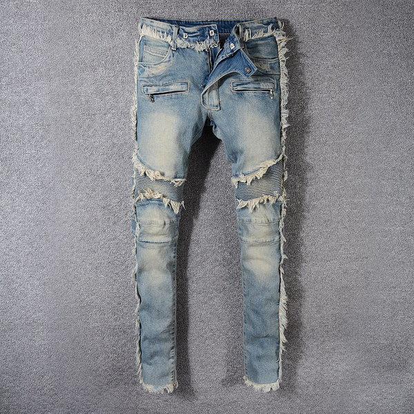 2020 Новый роскошный мода Мужские джинсы Проблемные рваные джинсы Байкер Тонкий Fit Мотоцикл Байкер денима джинсы мужские джинсовые брюки