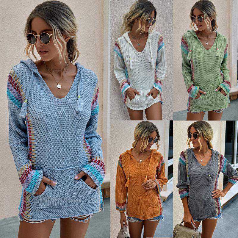 bayanlar dikiş 2020 bayan kazak tasarımcı kapşonlu beyaz, gri, yeşil, mavi, turuncu gevşek gömlek düz renk gündelik cep kazak örme kapüşonlu