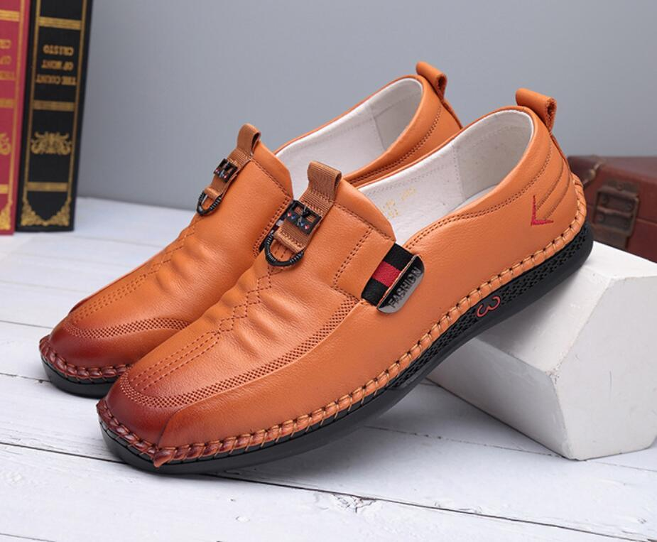 Top layer cowhide men's shoes casual foot cover version of South Korean anti-slip soft soles comfortable leather 0005