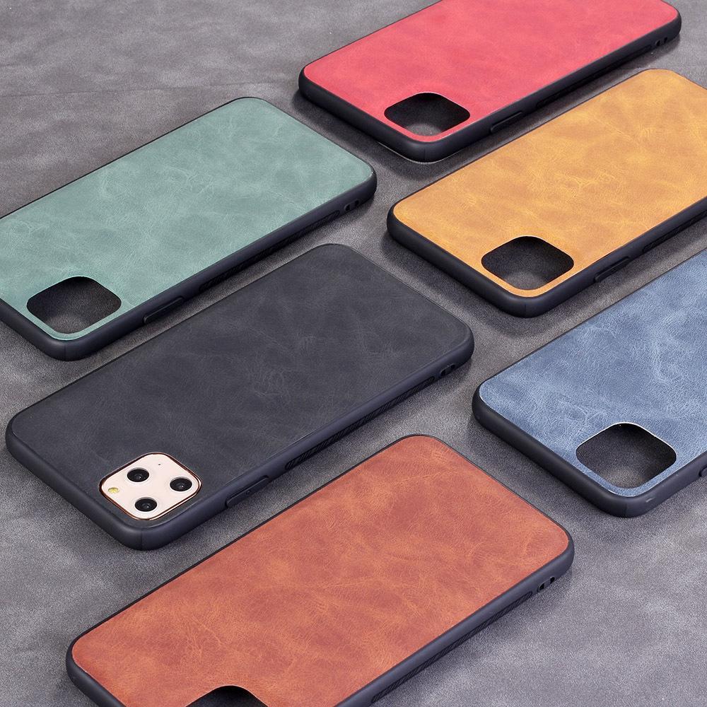 iPhone 12 미니 프로 최대 XR XS SE 7 8 Plus Back Cover 용 울트라 슬림 PU 가죽 전화 케이스