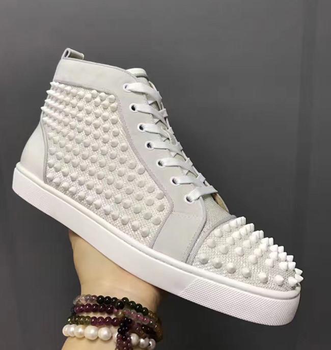 2019 Erkekler Kadınlar Günlük Ayakkabılar Tasarımcı Kırmızı Alt Çivili Dikenler Moda Insider Sneakers Siyah Kırmızı Beyaz Deri High Top