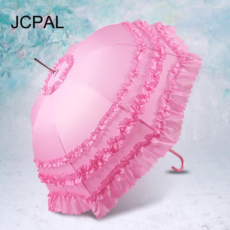 Prinzessin Stil winddicht Mädchen Solid Regen Stockschirm mit drei Rüschen für Frauen Anti-UV-Dome Sonnenschirm Sonnenschutz J Griff