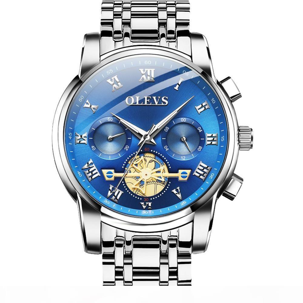 Hommes d'affaires Montre chronographe Bleu Homme inoxydable Montres étanches en acier luxe lumineux étanche Montre-bracelet pour les hommes