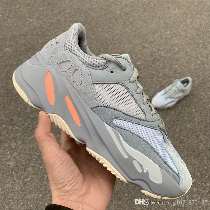 En Yeni En Otantik 700 Atalet Kanye West Ayakkabı Mavi Gri Erkekler Kadınlar Doğa Sporları Sneakers APE779001 ile Kutusu ile Kutu ABD 5-12 Koşu