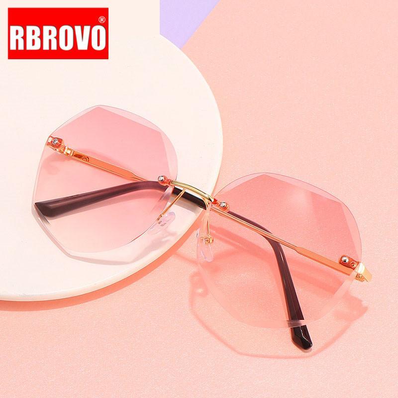 Lunettes de soleil sans chasse Rbrovo 2020 Femmes Sunglasses vintage de haute qualité Femmes lunettes de vue Feminino Hegmn