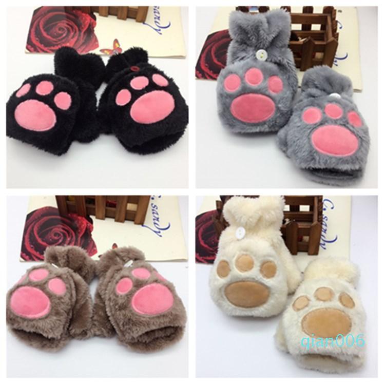 Herbst und Winter warm Mädchen tragen Palm Flip halbe Fingerhandschuhe Katze Klaue Handschuhe Plüsch nett Partei Handschuhe T2C5169 fingerlos