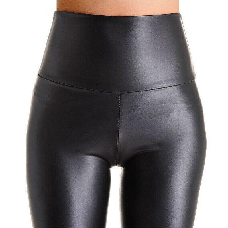 Frauen-schwarzer Stretch-Leder-Hose mit hohen Hüfte Mantel Leggings Sexy Push Up-Gamaschen-dünne Hosen Damen