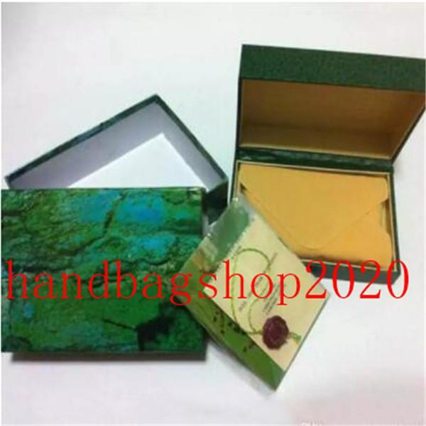 en kaliteli erkek saatler yeşil deri ingilizce ücretsiz kargo içinde kitapçık kart etiketleri ve kağıtları saatler kutusu