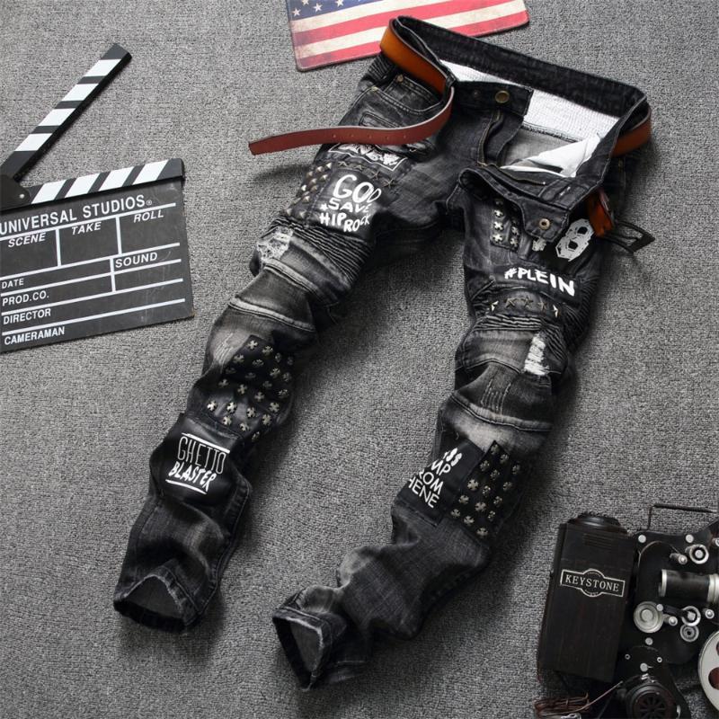 유럽 스타일 남성 브랜드 청바지 남성 슬림 데님 바지 검은 청바지 남성 스트레이트 모토 바이커 구멍 검은 색 바지