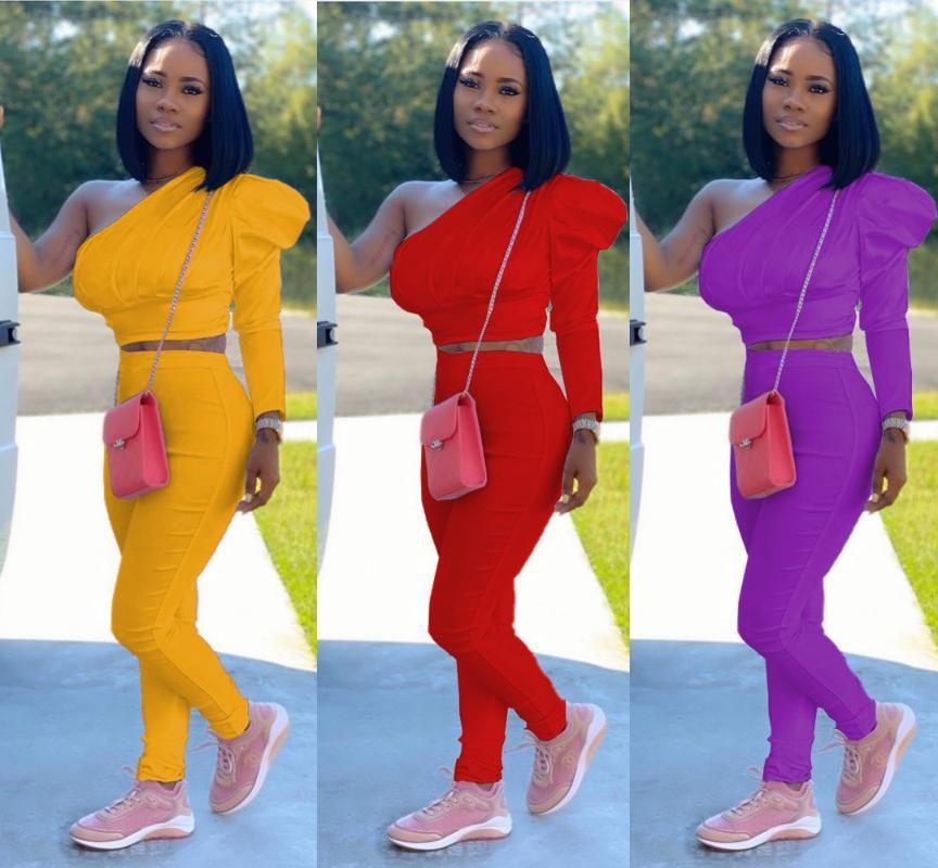 High Street New Женщины Solid Color Sexy Lady наборы Управление перекоса Воротник Полный Flare рукавом Короткие Топ и длинные штаны Два кусочка костюм