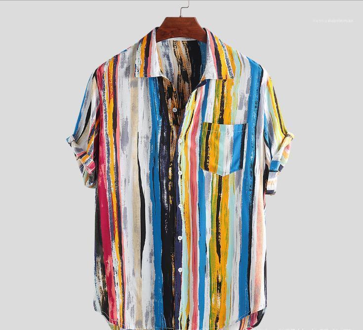 Imprimir Superior Masculina Ropa para hombre 2020 camisas de lujo del diseñador del verano de manga corta de la solapa de cuello camisa casual