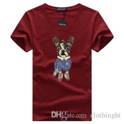 Большой размер Мужчины T-Shirt лето мода прекрасная собака печати с коротким рукавом личности Повседневный ИНГ T Shirt Men S-5XL DT252