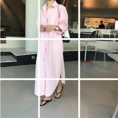 RnYYd de la moda coreana de la moda bfstyle sólido suelto coreana personalizada camisa de color sólido de color personalizada floja Escudo camisa de vestir vestido bfstyl