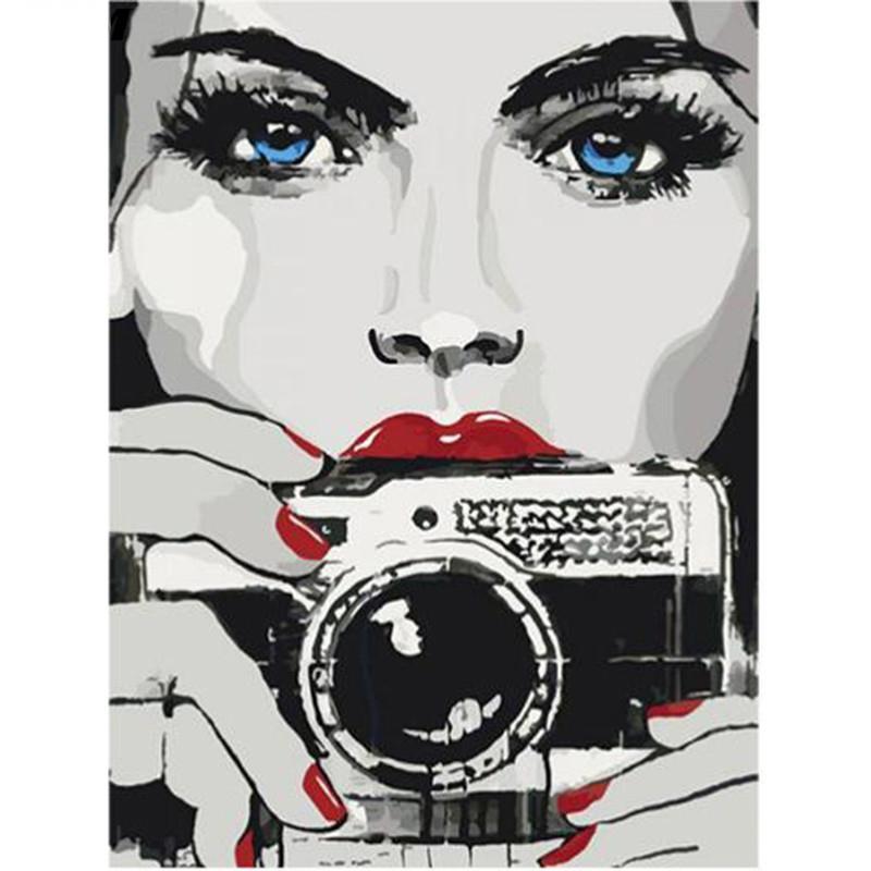 5D DIY diamante Pintura Pessoas Beauty Camera Needlework Craft presente cheio Praça Diamante Bordado Ponto Cruz Kits Home Decor