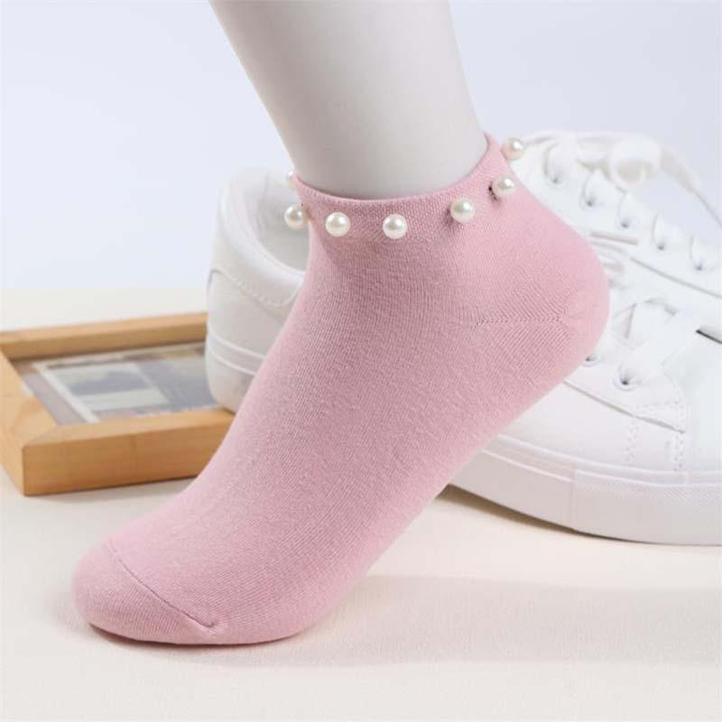 New Style Casual Ladies Girl Short Socks Lovely Fake Pearl Socks Bead Sox Hosiery Candy Color Hot Sale Women's Cotton