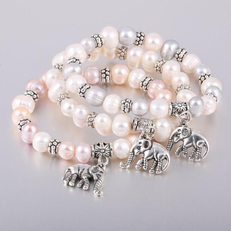 Nouveau 8 mm perle d'eau douce en alliage de zinc d'éléphant Pendentif Bracelet multi style simple bricolage bijoux chaîne cadeau Longueur 19cm