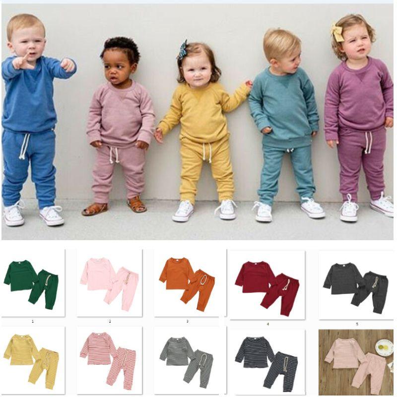 2020 طفل ربيع الخريف الملابس الرضع طفلة صبي للجنسين الصلبة رياضية ملابس طويلة الأكمام أعلى + بانت الملابس 2 قطع مجموعة 6M-4T HH9-3288