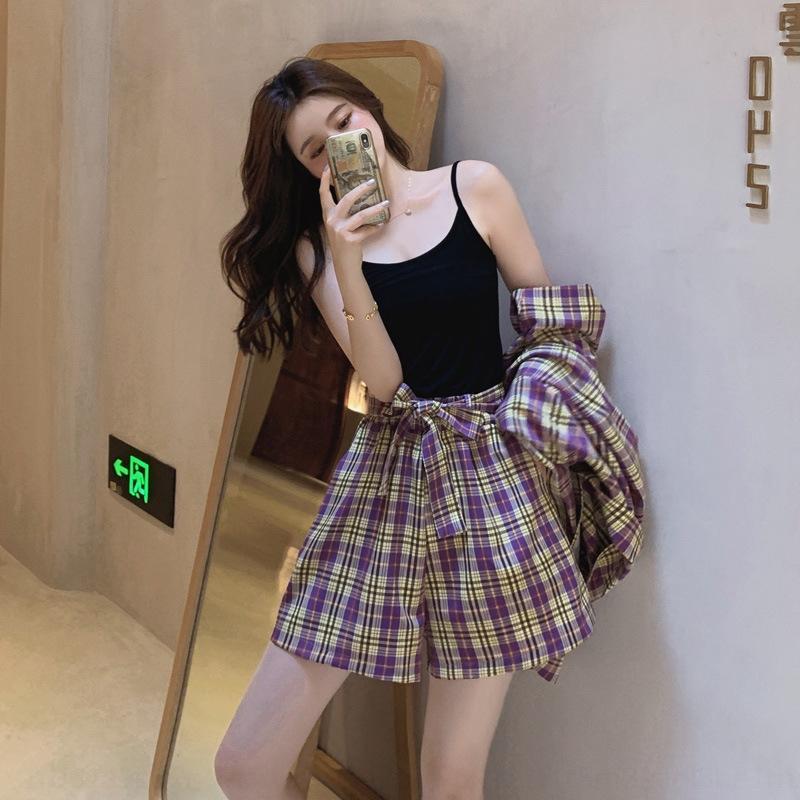 bRBjF 2020 Verão novo xadrez terno calções casaco estilo coreano soltas calções temperamentstyle casaco de mulher modernos fato de duas peças