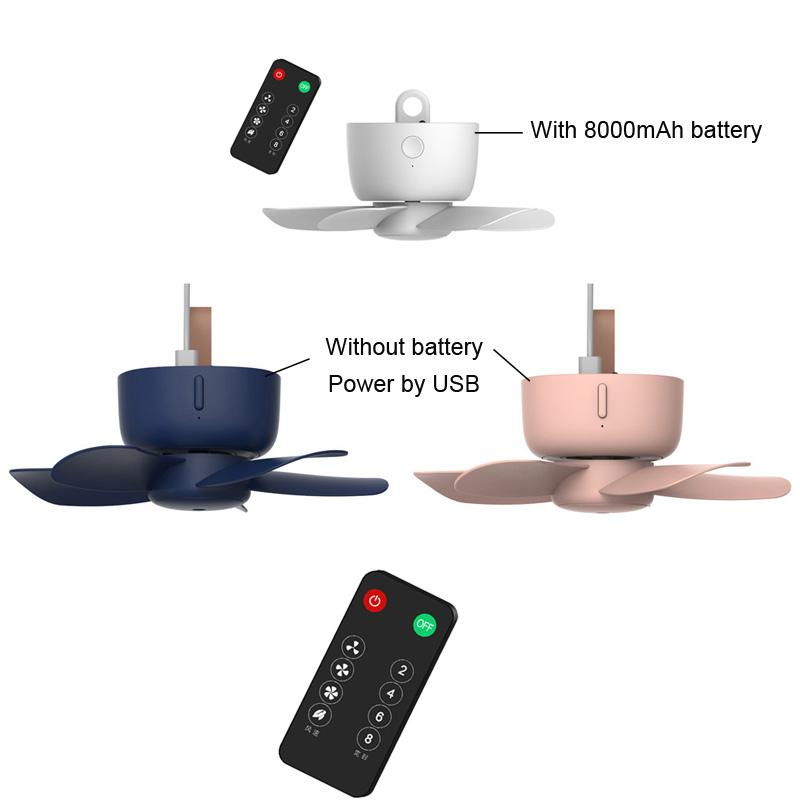 Remote Control Timing USB Powered Ceiling Fan Air Cooler 4 Speed USB Fan for Bed Camping Outdoor Hanging Tent Hanger U1JE
