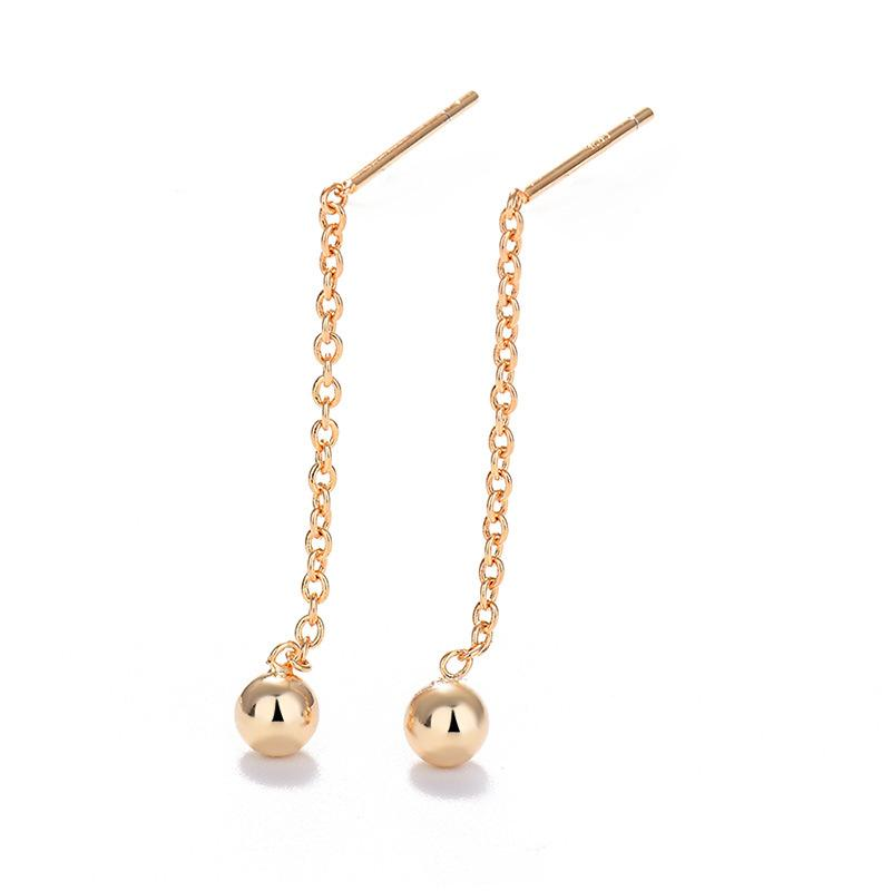 Q Gold Perlen hängende Ohrringe japanische und koreanische elegante einfache Short Peas Ohr-Anhänger Immortal lange Troddelohrringe All-Nicht-Mainstre
