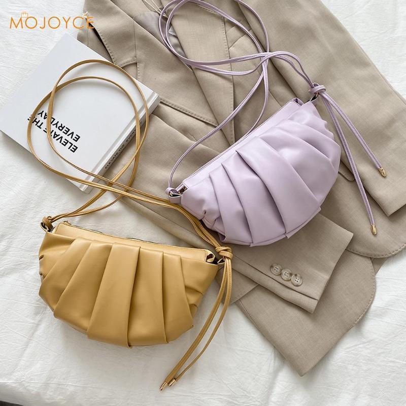 Épaule PU Sac à main Cuir Bandbody Sacs Femmes Pochette Solide Pochette Messenger Couleur Plissé Dumplings Litxa