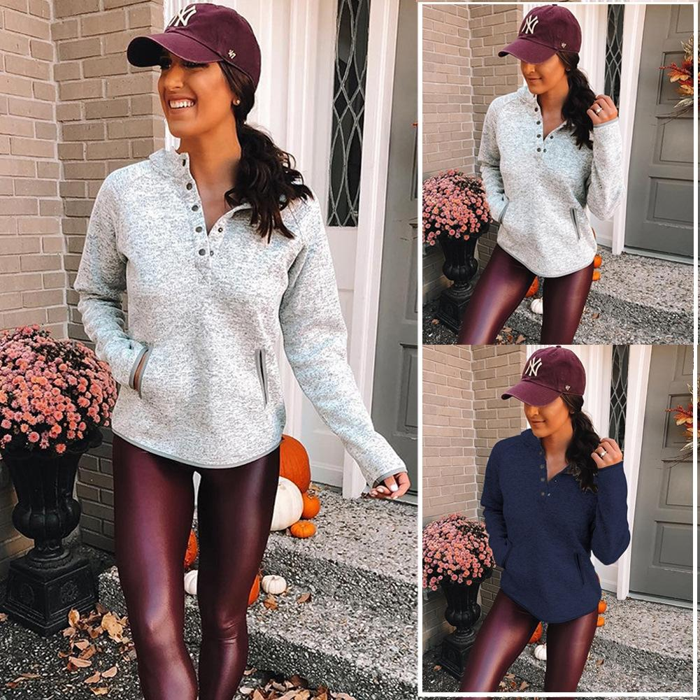 prpvW New autumn and winter 2020 fashion button pocket long sleeve lapel Top button sweater women's top sweater 600194
