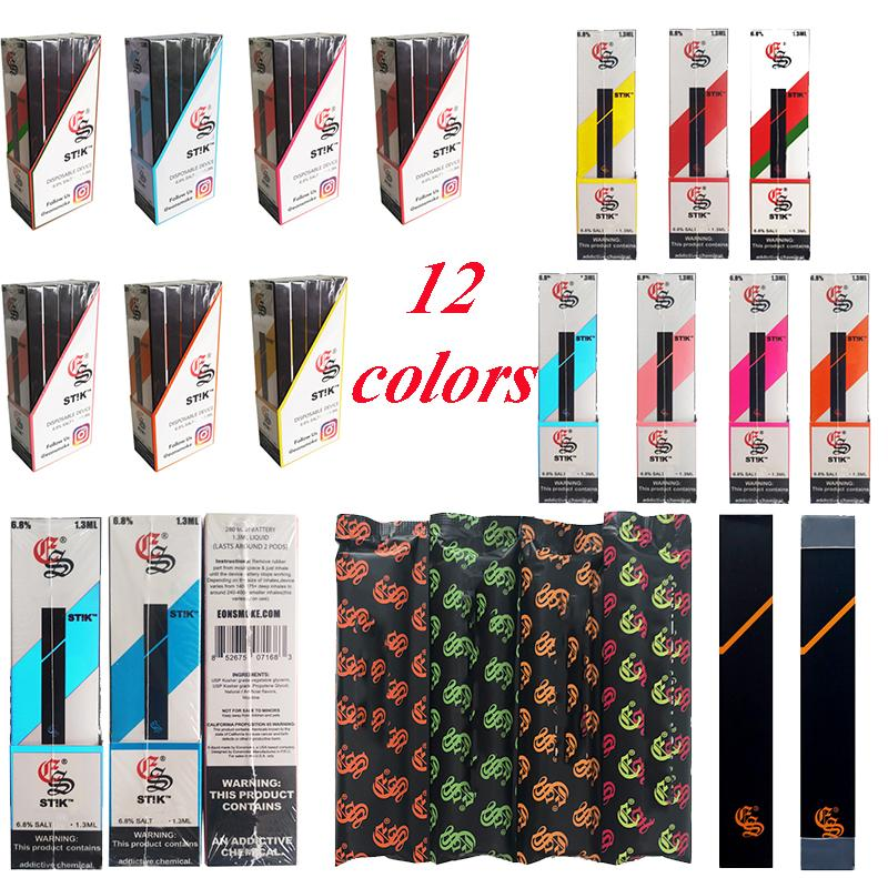 Stik Einweg-Pens Vape 12 Farben Vorgefüllte 1,3 ml Kartuschen 280mAh Kapazität Akku leer Carts Starter Kits
