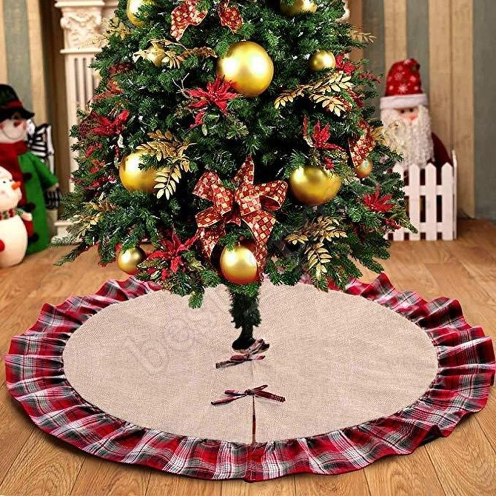 DHL Christmas Tree Skirts Bowknot Patchwork Decoraciones De Navidad Home Pad Red Lattices Linen Ornament Festival Christmas Decorations
