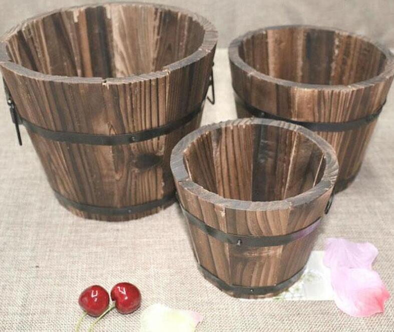 Rustic Small Round Wooden Flower Barrel Flower Pot Planter For Wedding Home Garden Decoration Free Shipping