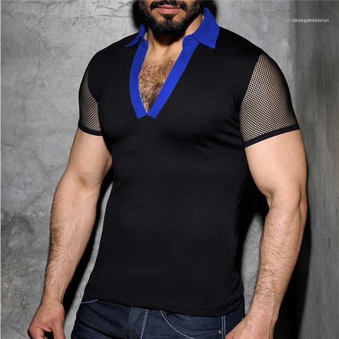 Hommes Sexy Gaze du Club Homme d'été V Polos Lapel Neck Patchwork Slim manches courtes T-shirts pour hommes Vêtements de mode