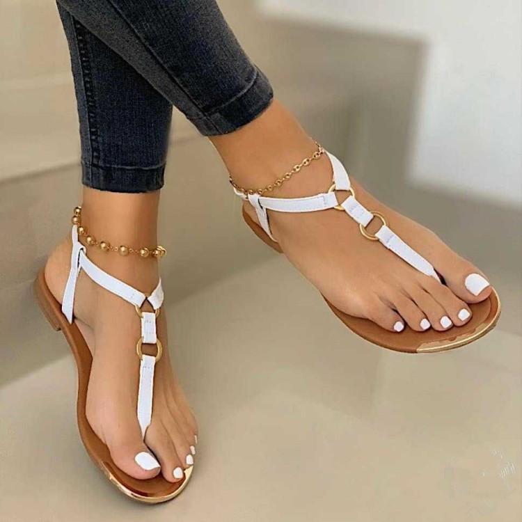 Toe Virar Sapatos casuais Sandals Mulheres cabeça redonda Ferrolho Praia plana Luz Sandals Mulheres 2020 Verão Zapatos de mujer