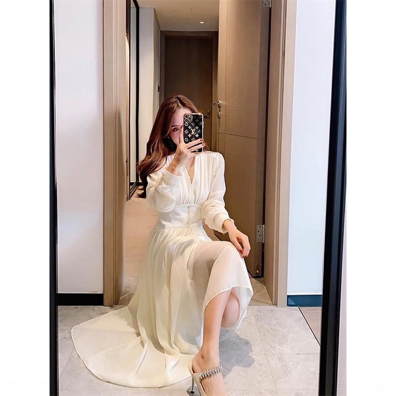 aO3Y8 İnternet ünlü aynı tarzı Fransız kabarcık kollu bayan elbise sonbahar 2020 yeni bel mizaç zayıflama V yaka elbise