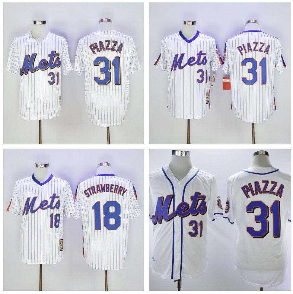 도매 남자 darryl 딸기 유니폼 마이크 piazza # 30 마이클 conforto 야구 유니폼 셔츠 셔츠 최고 품질