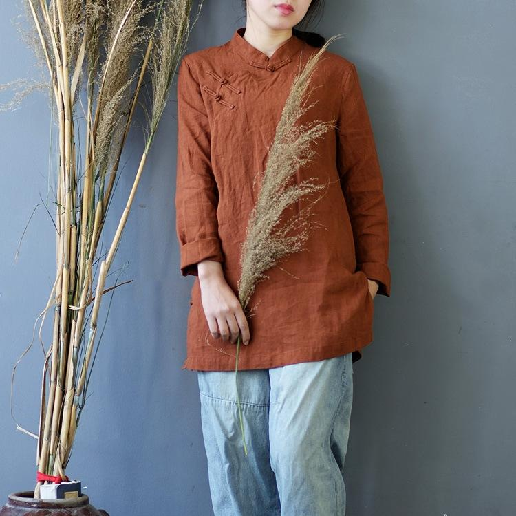 aOvzi Mulheres' lavado glutinoso linho puro roupas folgadas Zen Coat of China estilo de comprimento médio superior S541 República s Top