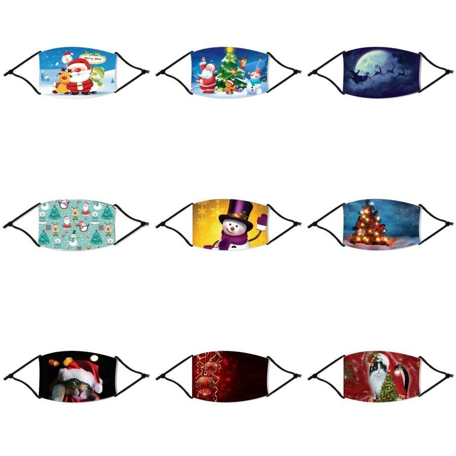 Вышивка Половина лица Рот Рождество Маски Mascherine Складные Stretch уха Шнур пыли Защитные рождественские маски против Всплеск На складе 2 69R # 93333