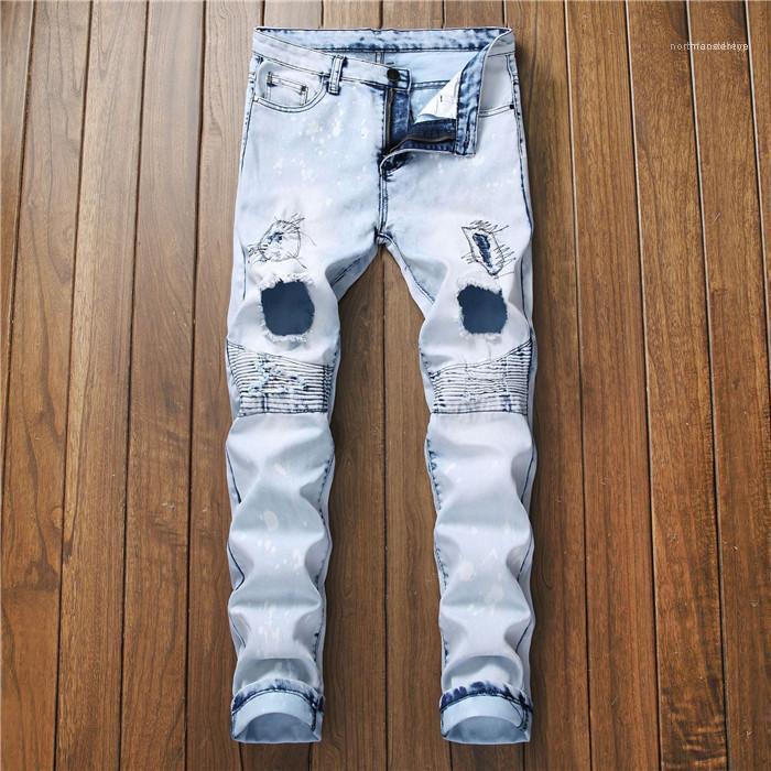 Хип-хоп Мода Стиль Повседневная одежда Mens конструктора Jeans Hole Solid Color Zipper Fly Кнопка Homme Одежда Tennager