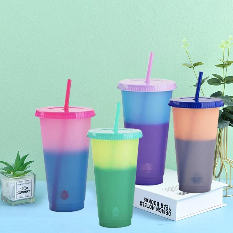 Color Changing Cup With Lid Reusable Fashion Tumbler Clear Plastic Pp Material Coffee Mug Water Straw Temperature Sensing Household 5 5hb B2